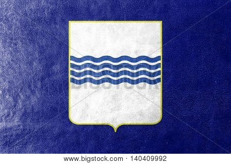 Flag Of Basilicata, Italy, Painted On Leather Texture
