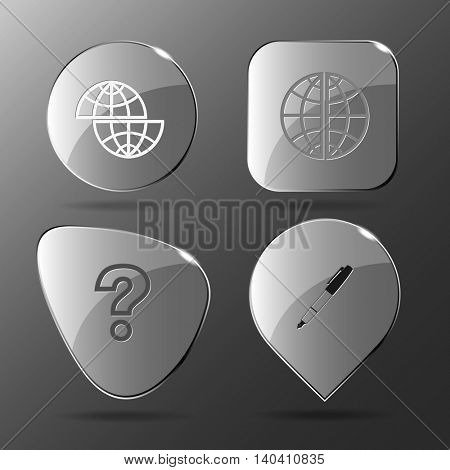 4 images: shift globe, query sign, ink pen and pencil. Education set. Glass buttons. Vector illustration icon.