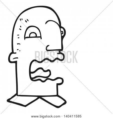 freehand drawn black and white cartoon burping man poster