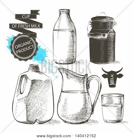 bottles and jars gallon with fresh milk products can container for milk isolated on white background