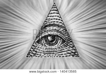 Dollar USA. Element of the image of United States one-dollar bill pyramid Eye of Providence Beams from pyramid every which way. Conceptual photo for successful business design. Macro.Black and white.