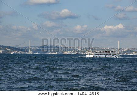 Istanbul Turkey - July 26 2016: Turkey Renames Bosporus Bridge '15th July Martyrs' Bridge'. Turkish Prime Minister Binali Yildirim says Istanbul's Bosporus Bridge will be renamed
