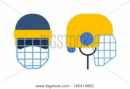 Classic goalkeeper hockey helmet with metal protect visor. Front and side view. Sports hockey helmet vector illustration isolated on white background. Hockey helmet sport equipment protection.