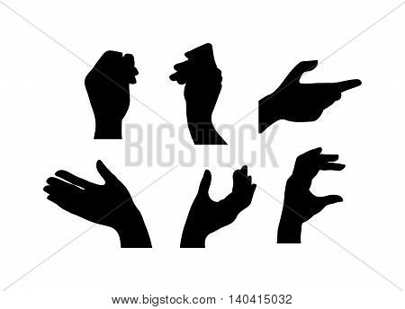 Human hands different pose signal human fingers. Human hands isolated. Silhouette of hands showing symbols finger thumb vector illustration.