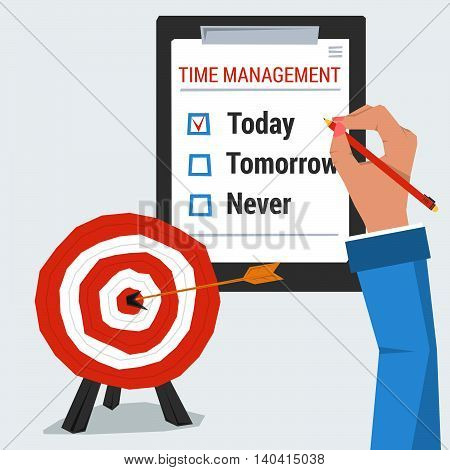Hand with list to do. Concept time management. Checkbox is marked today. Target goal with arrow in the center. Vector illustration in flat style