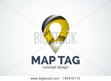 Abstract business company map tag or locator logo template, navigation pointer concept - geometric minimal style, created with overlapping curve elements and waves. Corporate identity emblem