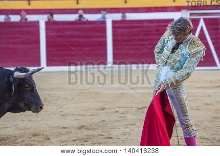 Sabiote Spain - August 23 2014: The Spanish Bullfighter Manuel Escribano bullfighting with the crutch in the Bullring of Sabiote Spain