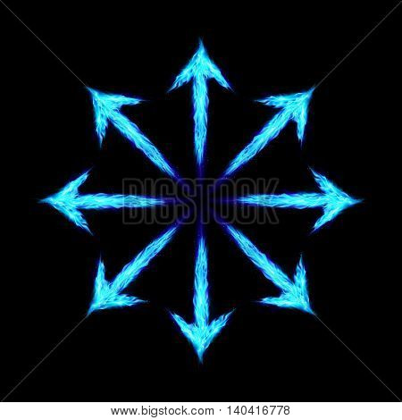 Many blue fire arrows directed outwards. Illustration on black background