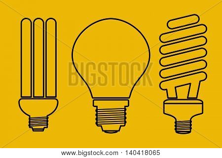 Vector illustration of three thin line art lamp icons. Set for LED equipment. Ordinary incandescent, fluorescent and economical buib lamps on yellow background