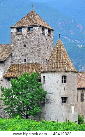Facade of Bolzano old castle in Italy