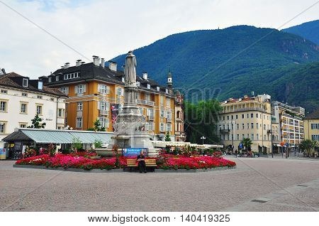 BOLZANO ITALY - JULY 20: View of the cathedral square in historical centre of Bolzano Italy on July 20 2014. Bolzano is a city in northern Italy the capital of Trentino Alto province.