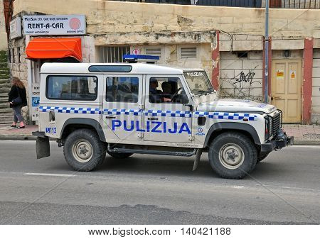 SLIEMA MALTA - FEBRUARY 28: SUV of Malta police department on the street of Sliema on february 28 2014. Sliema is a town located on the northeast coast of Malta.