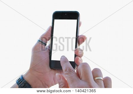 Woman Touching A Mobile Phone Blank Screen