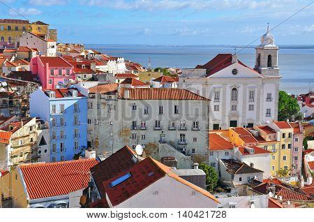 Sunny day in Alfama capital of Lisbon
