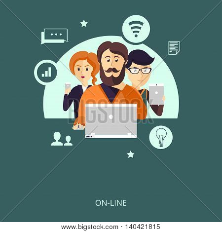 Vector illustration. Group of users with a variety of gadgets connected to the network. The concept of adaptive design or teamwork.