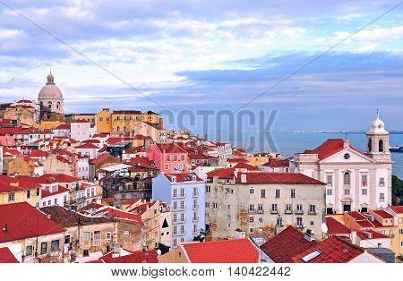 View of Alfama district, Lisbon city, Portugal