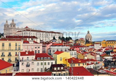 Lisbon old town panorama of Alfama district