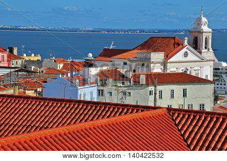 Alfama district by the river. Top view