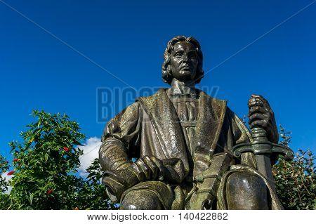 Statue of Crist v o Colombo, Park Santa Catarina, Funchal, Madeira.