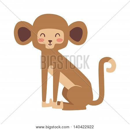 Cartoon monkeys vector illustration. Monkey vector and jungle monkey cute mammal. Monkey cute primate monkey. Monkey species cheerful zoo chimpanzee mammal. Monkey vector