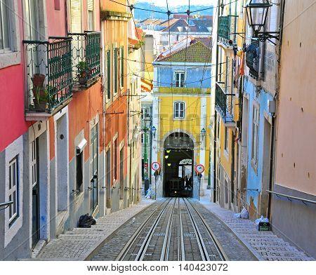 Lisbon funicular Bica in Bairro Alto district