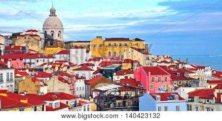 Colorful houses of Alfama district, Lisbon, Portugal