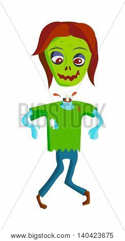 Colorful zombie scary cartoon elements and magic zombie human body cartoon fun group. Cute green cartoon zombie character part of body monsters vector illustration. Horror zombie people isolated