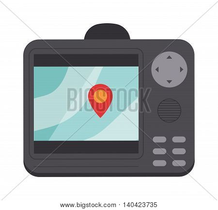 Generic GPS navigation system device navigator screen and travel map navigator screen vector. Navigator screen search direction and navigator screen satellite technology road system car.