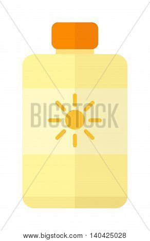 Bottle suntan cream isolated on white background and sunscreen cream vector icon. Sunblock cosmetic summer container sunscreen cream and orange tube packaging design sunscreen cream.