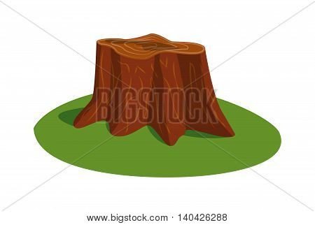 Illustration of tree stump and mushroom tree stump vector. Wood nature tree stump and natural forest section tree stump. Tree stump wood trunk, natural forest cut tree on green grass.