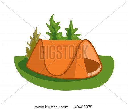 Forest camping vector concept with tourist outdoor tent. Outdoor tent summer nature leisure and activity camping outdoor tent. Forest sport landscape campsite outdoor tent on green grass wilderness.