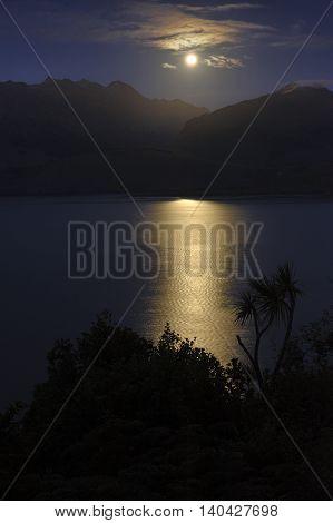 Rising Moon over Lake Wanaka South Island New Zealand