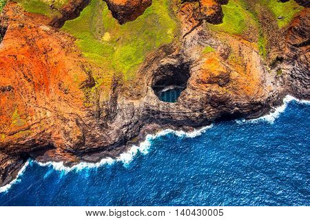 Aerial View Of Na Pali Coastline Open Ceiling Cave From Helicopter, Kauai