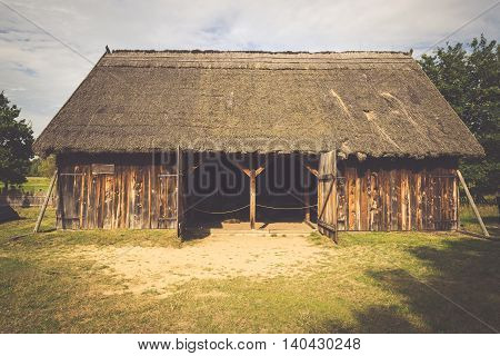 Old fisherman's houses in Kluki village Poland.