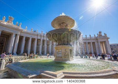 Rome, Italy - June 18, 2016: San Pietro Square and Saint Peter Basilica. The Francesco Pope pubblic speaking for jubilee event in Rome.