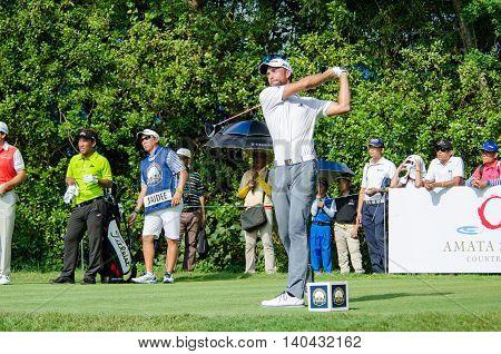 CHONBURI - DECEMBER 13 : Steve Lewton of England player in Thailand Golf Championship 2015 at Amata Spring Country Club on December 13 2015 in Chonburi Thailand.