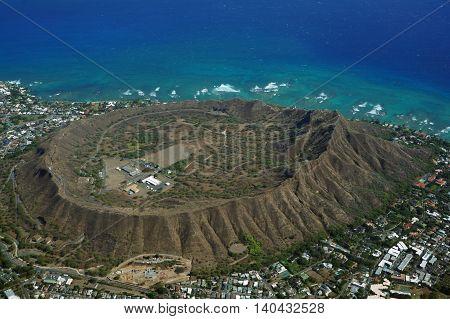 Aerial view of Diamondhead Kapahulu Kahala Pacific ocean on Oahu Hawaii. April 2016.