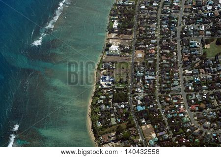 Aerial view of Kahala Beach and Pacific ocean on Oahu Hawaii. April 2016.