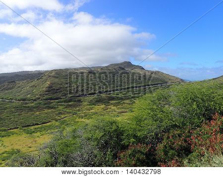 Lush Valley with road within Kaiwi State Scenic Shoreline on O'ahu's southeastern coastline