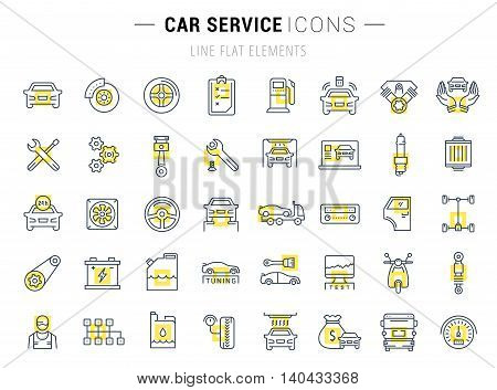 Set vector line icons with open path car service auto repair and transport with elements for mobile concepts and web apps. Collection modern infographic logo and pictogram.