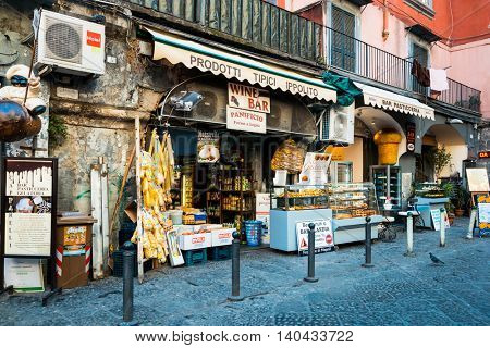 NAPLES, ITALY - January 22, 2016 : Street view of old town in Naples city. January 22, 2016, Naples, Italy