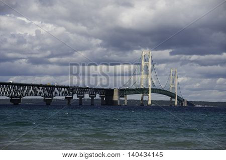 Mackinac Bridge in the Upper Peninsula of Michigan.
