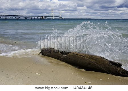 Lake Michigan with View of Mackinac Bridge.