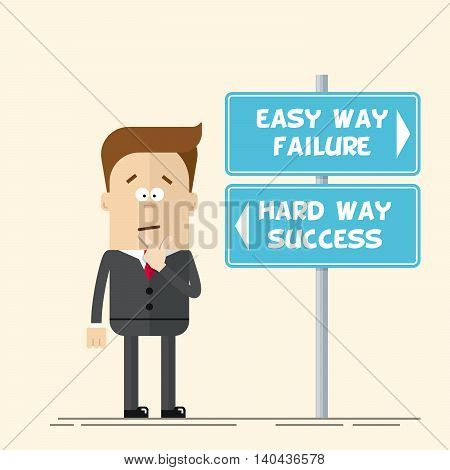 Businessman or manager has to choose the direction. Quick and easy way, or complex and difficult. A man in a business suit scratching his head. Flat vector illustration in cartoon style