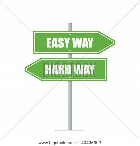 Easy and hard way directions sign isolated on white background. The choice between the two directions. Green road pointer. Flat vector illustration