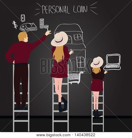 personal loan debt people in family try to get what they want reach by ladder from house money to laptop vector