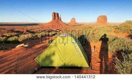 Monument Valley campground. Tent at sunset. Monument Valley, Arizona, USA May 13, 2016
