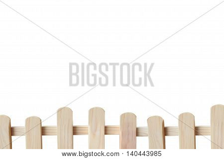 wood fence with copy space and isolated white background.