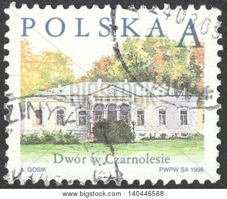 MOSCOW RUSSIA - CIRCA APRIL 2016: a post stamp printed in POLAND shows a manor in Czarnolas the series