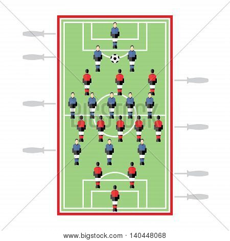 Table Football, table top game, soccer, flat illustration